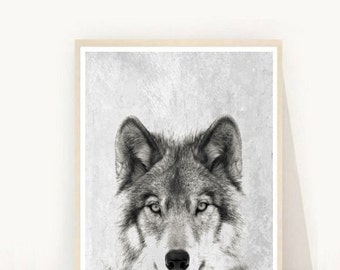 Wolf Print, Wolf Photo, Printable Art, Wolf Art, Art Print, Textured, Grey Wall Art, Wall Decor, Black and White wolf, Instant Download