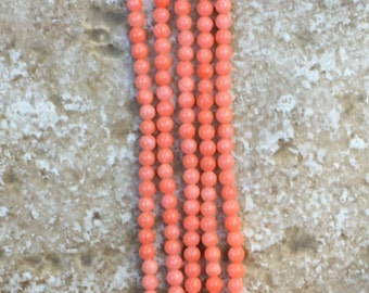 "Bamboo Coral Beads - FULL 16"" strand (about 154 beads) 3mm Teeny Tiny round Smooth Beads, Salmon coral pink natural dyed gemstone - G960"