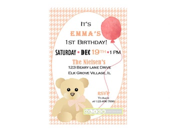 Teddy Bear birthday invitation, Coral Houndstooth's  pattern with  pink and brown teddy bear, balloon , coral balloon. Printable Invitation