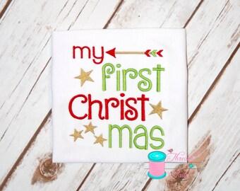 Baby's 1st Christmas, 1st Christmas,  1st Christmas Shirt, First Christmas, Christmas Shirt, Christmas Applique Shirt, Girls Christmas Shirt