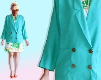 80s Mint Blazer - Jacket Pastel Graphic Avant Garde Memphis - Green Oversized Lightweight Buttoned Rockabilly Blazer