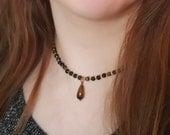 "Tigereye Obsidian ""Bumblebee"" Drop Pendant Necklace, 16 inch choker"