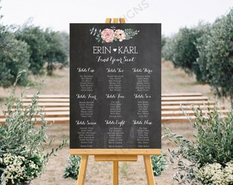 Personalised Printable Wedding Seating Chart, Wedding Table Plan - Watercolour Flower Collection