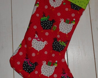 Fun, colorful chicken  Christmas stocking!  For yourself or as a gift!
