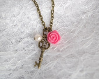 Key Necklace  Pink Rose Necklace Antique Key Necklace Small Skeleton Key Jewelry Vintage Ivory Pearl Necklace gift idea for her Pink Wedding