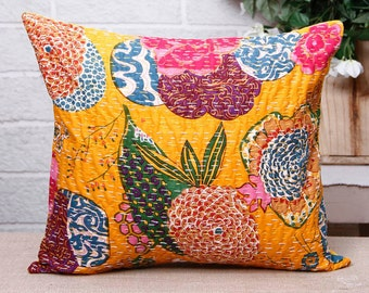 Yellow Kantha Decorative Pillow Cover Indian floral pillow handmade throw pillow 16X16
