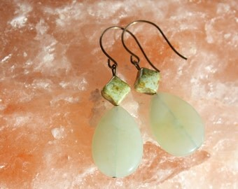 New Jade Flat Teardrop Gemstone and Green Glass Earrings on Natural Brass Wire