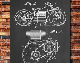 Indian Motorcycle Shaft Drive Patent Print Art 1943