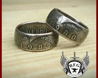 Kennedy Half Dollar Coin Ring - Choose The Year and Size You Want !