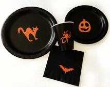 Halloween Party Pack - Spooky - Halloween Plates - Pumpkin - Trick or Treat - Halloween Decor - Bat - Spider Birthday - Baby Shower - Fall