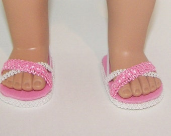 Doll Shoes Sandals Pink and White fits AG and other 18 inch Dolls