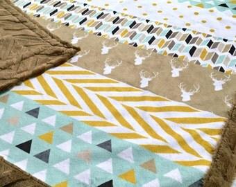 Minky Baby Blanket - Modern Woodland Faux Quilt Designer Minky - Brown Chevron