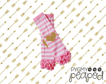 Baby Girl Toddler Glitter Leg Warmers - Choose Color of Leg Warmers & Glitter - White, Black, Pink, or Pink and White Striped with Gold
