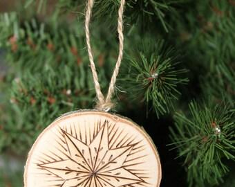 Wood Burned Handmade Snowflake Ornament