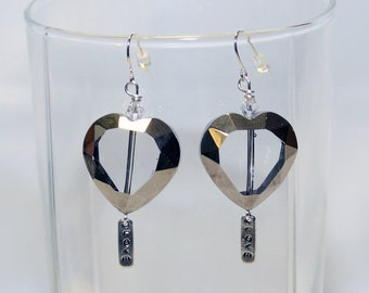 Heart Earrings - Pewter Charm Earrings - Love Earrings