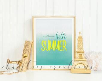 Hello Summer Ombre Printable Wall Art. Home Decor. Seasonal Printable.