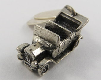 Ford Model T Five Passenger Automobile With Harrah's & Model T Tags Sterling Silver Vintage Charm For Bracelet
