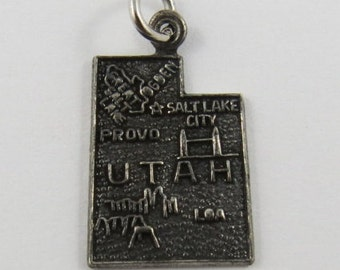 Map of Utah State Sterling Silver Vintage Charm For Bracelet