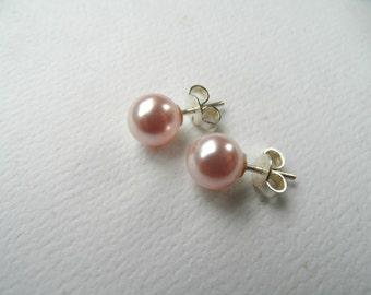 sterling silver stud earrings, bridesmaid stud earring, bridesmaid earrings, pink pearl earrings