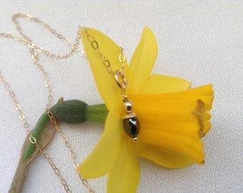 SALE... 9k gold and black Diamond pendant necklace. Black diamond pendant. Gift for her. Ever lasting love.
