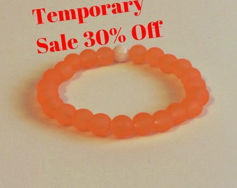 30% Off! Orange 8mm Woman's Stretch Glass Bracelet Dainty Bohemian Plus Size Stacking Beaded Jewelry Abundance Stackable Woman Gift Idea