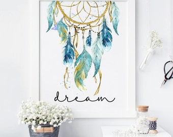 Blue Dreamcatcher, Dream Printable, Tribal Wall Decor, Bohemian Wall Print, Teen Wall Art, Wall Art Printable, Watercolor Dreamcatcher Print