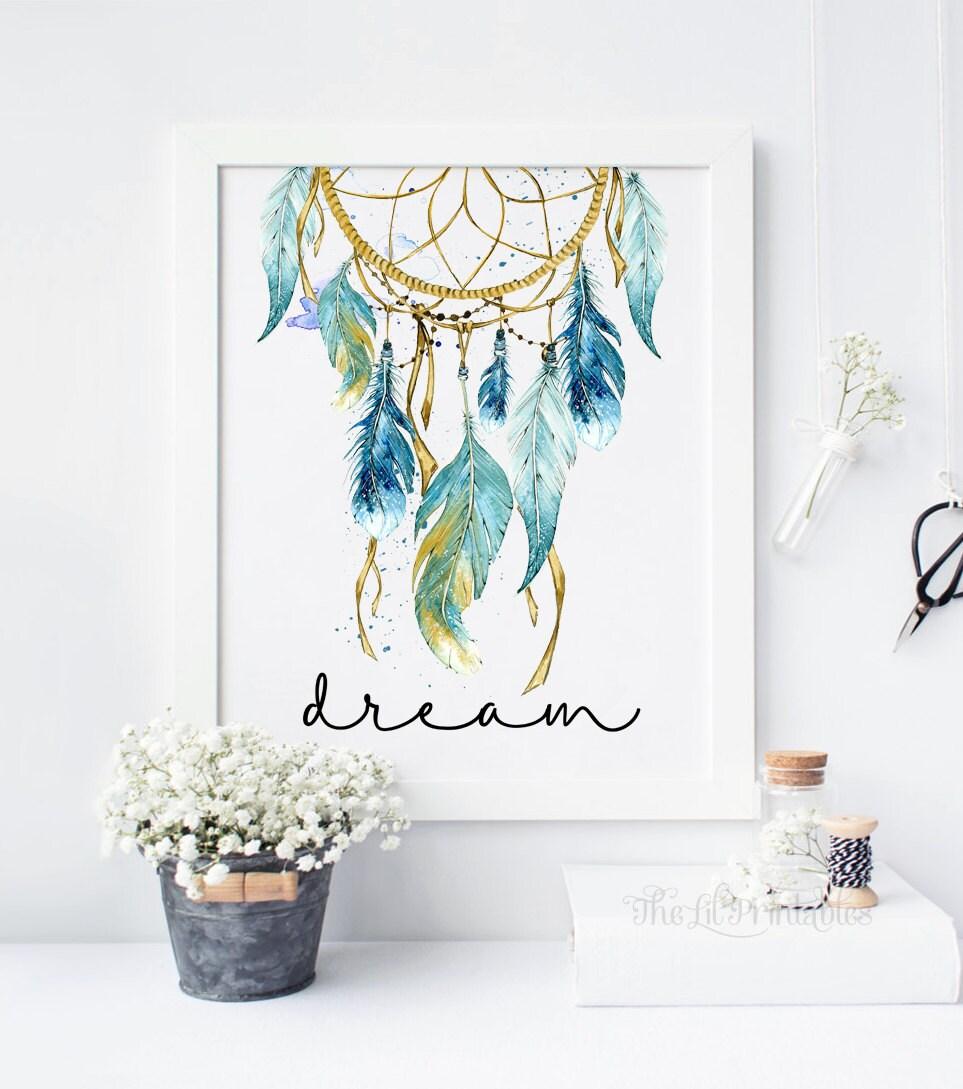 Blue dreamcatcher dream printable tribal wall decor for Teen wall art