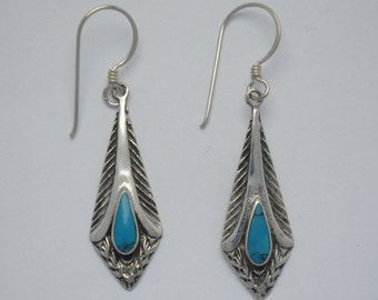 Turquoise feathers earrings and sterling silver