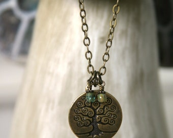Round Tree of Life Necklace, Tree of Life Pendant, Family Tree, Nature, Woodland, Unique Gift, Czech Glass,