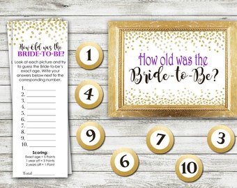 Bridal Shower Game Download - How Old Was the Bride - PURPLE and GOLD - Instant Printable Digital Download - diy Bridal Shower Printables