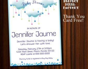 Baby Shower invitation,Clouds and raindrops, Baby shower, Clouds and raindrops invitation, Glitter invitation,