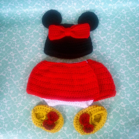 Free Crochet Pattern Minnie Mouse Diaper Cover : Crochet Baby Minnie Mouse Inspired Photo Prop by ...
