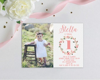 Pink Floral Photo First  Birthday Party Simple Classic Baby Girl Invitation