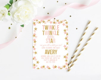 Twinkle Twinkle Little Star Pink and Gold Glitter First Birthday Invitation