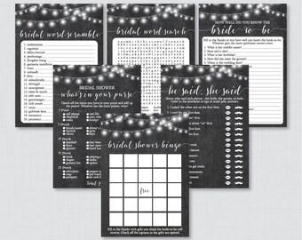 Chalkboard Bridal Shower Games Package with Six Games- Printable Rustic Chalkboard Bridal Shower Games - He Said She Said, Bingo, etc 0005