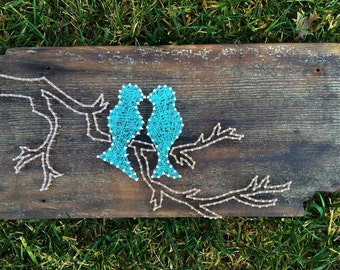 Love Birds On A Branch// String Art