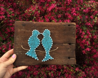 Love Birds// String Art//Wooden Sign