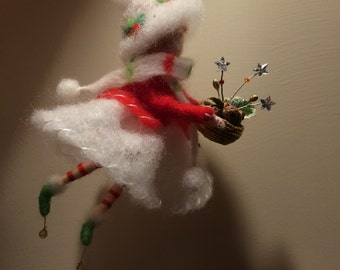 Needle felted Fairy. Angel, Waldorf inspired, White angel with Christmas basket, Winter fairy, Christmas home décor,  Art doll