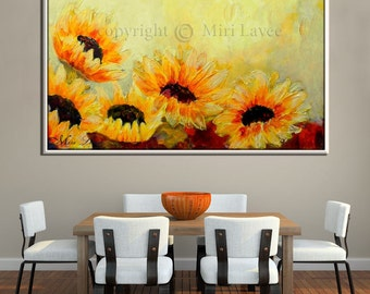 Large Wall Art, Contemporary Art, Abstract Wall Art, Canvas Print Sunflower Art, Abstract Canvas Art Sunflower Decor, Living Room Wall Art
