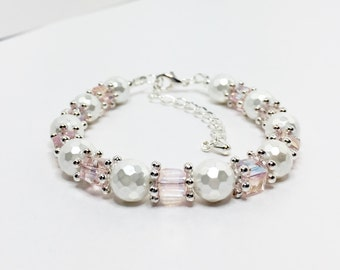 Pink Wedding Bracelet Crystal and Pearl Bridal Party Gift Pink Bridesmaid Gift Wedding Jewelry Set Mother Of The Bride Gift Flower Girl Gift