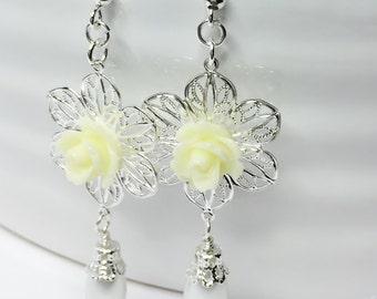 Lemon Flower Earrings Pretty Wedding Jewelry Yellow Rose Drop Earrings White Pearl Dangle Earrings Bridesmaid Gift Mother of The Bride Gift