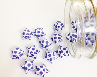 48 French Navy Origami Stars: Blue - Polka Dots - Mini Stars - Origami Star Decoration - Folded Paper - Blue and White - Baby Shower Decor