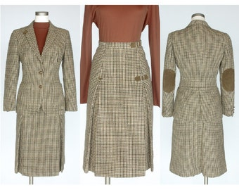 The Scotch House Vintage 2 Piece Wool Skirt Suit / Kilt / Houndstooth