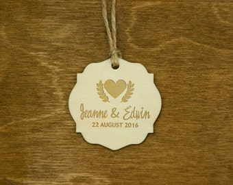 Wedding Favor Tags Personalized Wooden Engraved Hang Tags Rustic Custom Gift Tags Thank You Tags Natural Wood