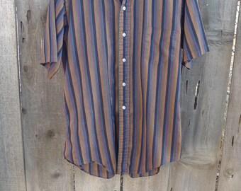 Vintage 50's 60's Men's Shirt Patrick James 70's Black Vertical Stripes Cotton Medium