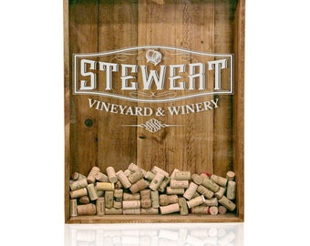 18x24 Shadow Box Cork Holder: Wine Cork Holder, Wine Cork Wedding Gift, Personalized Shadow Box, House Warming Gift