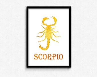 Scorpio, Gold Foil, Astrology, Zodiac, Scorpion, Astrological, Wall, Art, Home, Office, Decor, Printable, Gifts