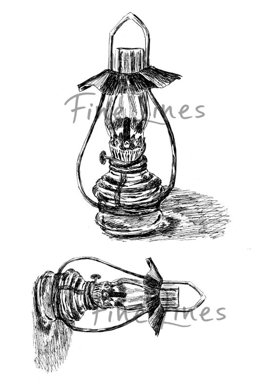 Lantern lamp digital stamp Antique oil lamp by ...