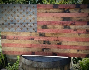 Bourbon Barrel US American Flag - Wooden Flag