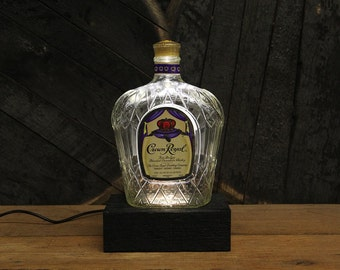 Crown Royal Bourbon Bottle LED Light / Reclaimed Wood Base & LED Desk Lamp / Handmade Tabletop Lamp / Upcycled Bourbon Bottle Lighting